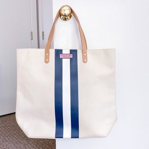 Vineyard Vines Leather Handle Tri-Stripe Tote Bag